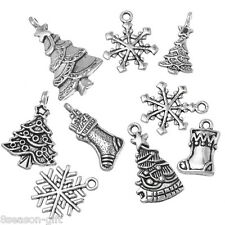 Wholesale Gift Mixed Silver Tone Christmas Motif Charms Pendants