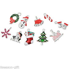 Wholesale Gift Mixed Silver Plated Enamel Christmas Charms Pendants  MZB09921