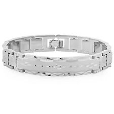 Mens 14k White Gold Silver Plated/Layered/Plated Classic Link ID Bracelet