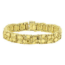 Men's Shiny 12.5mm Wide Heavy 14k Yellow Plated Gold Nugget Link Bracelet