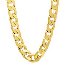 12mm Wide Men's Heavy 14k Gold Plated Solid Cuban Link Curb Chain Necklace
