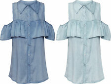 Womens Denim Frill Boho Gypsy Top Ladies Cut Out Cold Shoulder Button Shirt