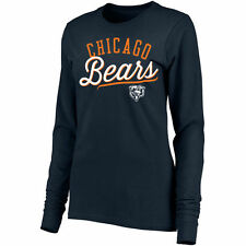 Pro Line Chicago Bears Women's Navy Simplicity Fitted Long Sleeve T-Shirt