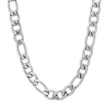 Men's 6mm Wide Polished Silver Figaro Link Chain Stainless Steel Necklace