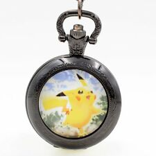 Pikachu Genius Pokemon Quartz Pocket Watch Necklace Chain Black/Bronze/Silver KK