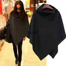 Women Batwing Poncho Cape Asymmetric Cardigan Parka Jacket Coat Loose Cloak new