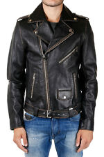 DIESEL New Leather Black Jacket Man Biker Vintage effect NWT