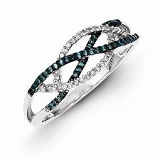 Sterling Silver 2.0 mm Rhodium-plated Blue and White Diamond Ring