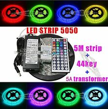 RGB 5M 5050SMD 300leds light strip flexible+IR remote control 5A 12V supply