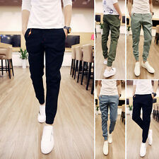 Hot Men's Fashion Slim Fit Pure Color Harem Trousers Slacks Casual Long Pants