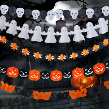 Scary Garland Pumpkin Spider Hanging Ghost Paper Halloween Haunted House Decor
