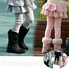 Girls Cake Culottes Wool Blend Leggings Tutu Skirt Solid Pants Ruffle 4 Colors