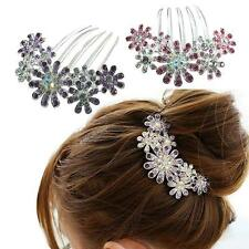 Beautiful Jewelry Women Flowers Crystal Hair Clips Dish Hair Comb Tools US