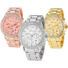 Luxury Women Geneva Wrist Watch Crystal Stainless Steel Quartz Analog Date Watch