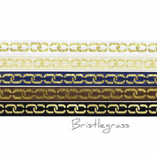 "5 Yard 5/8"" Gold Chain Foil Print Fold Over Elastic Satin Band Dress Sewing Trim"