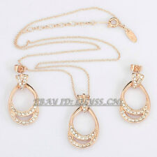B1-S3020 Fashion Rhinestone Circle Earrings Necklace Jewelry Set 18KGP Crystal