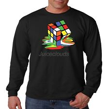 Cool Long Sleeve Shirt Melting Rubik Cube 3D Big Bang Theory Rubiks