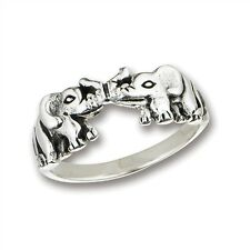 Cute Sterling Silver OPPOSING ELEPHANTS Ring Jewelry Size 5-9