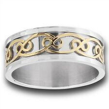 Celtic Knot Stainless Steel Ring w Gold Tone Size 7-13
