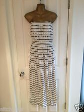 PRIMARK LONG STRIPED STRAPLESS,SLEEVLESS BUBE TUBE MAXI DRESS UK M WHITE/NAVY