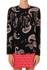 MSGM New woman black silk shirt blouse Fringes long sleeves Made in Italy