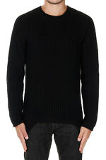 RICK OWENS New Man Black Round Neck Virgin Wool Sweater Jumper Knit Made Italy