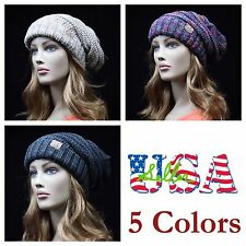 Knit Beanie Cable Slouch Baggy Cap Knit Ski Caps Casual CC Hat Oversize Hats
