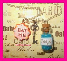 Hot Pink Alice Wonderland Eat Me Cookie Drink Me Charm Bottle Silver Plated USA