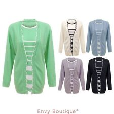 WOMENS LADIES STRIPED KNITTED TWINSET LONG SLEEVE CARDIGAN JUMPER TOP PLUS SIZES