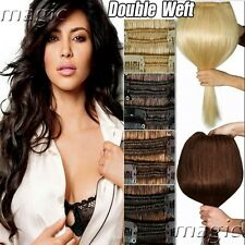 Premium Thick Clip in Remy Human Hair Extensions Double Weft Full Head US SU444