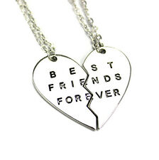 2PC Girl Women Best Friends Forever BFF Valentine Heart Pendant Chain Necklaces