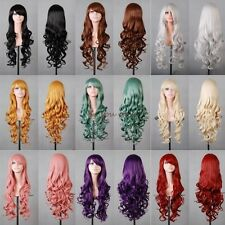 Washable Cosplay Full Wigs Long Curly Straight Costume Party Fancy Dress Purple