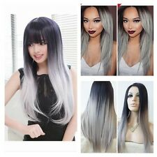 Synthetic Wig Heat Resistant Long straight ombre color lolita Full Hair Wigs+cap