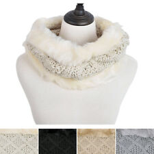 Premium Solid Color Winter Diamond Knit Faux Fur Trim Infinity Loop Circle Scarf