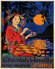 POSTER CHOCOLATE AMATLLER MARCA LUNA JAPANESE FULL MOON VINTAGE REPRO FREE S/H