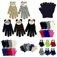 Plain Knit Magic Gloves One Size Solid Warm Touch Screen Men Women Kids Black