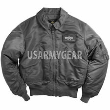 Made in USA Alpha Industries CWU-45P Army Military  Bomber Flight Jacket Grey