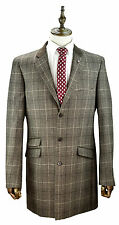 Mens Overcoat Brown Check Sizes 38 To 50 Tweed Check