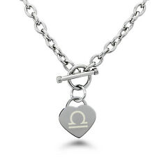 """Stainless Steel Libra Astrology Symbol Heart Charm Necklace 18"""""""