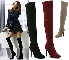 LADIES FETISH HIGH HEEL PULL ON ZIP SEXY OVER THE KNEE HIGH THIGH HIGH BOOTS SIZ