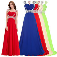 Red Long Beaded Bridesmaid Formal Gown Ball Party Cocktail Evening Prom Dress