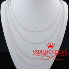 WOMEN'S LADIES MEN'S 10K WHITE GOLD 1MM SINGAPORE TWISTER ROPE CHAIN NECKLACE