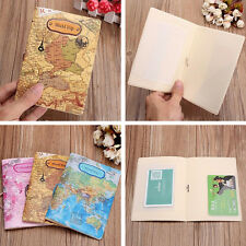 PU Leather World Map Passport Holder Travel Card Case Document Cover mAN