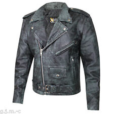 B-7166 Classic Distressed Black Soft Thick Leather Biker Motorcycle Jacket