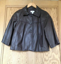 Ladies Ann Taylor Loft Brown Soft Leather Jacket Cropped with 3/4 Sleeves Size M