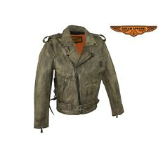 Men's Distressed Brown Leather Motorcycle Jacket  W Black Leather Side Laces