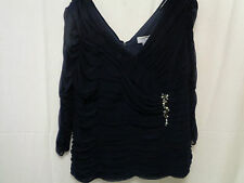 HEINE LADIES NAVY BLUE EVENING  TOP SIZE 16 WITH DIAMANTES ON THE FRONT  (FE)