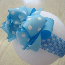 Light Baby Blue Dot Boutique Hair Bow Girls Toddler Big Double Chunky Hairbows