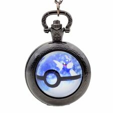 Vintage Pokemon Genius Ball Pattern Quartz Pocket Watch Necklace Chain Pendant