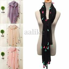 Fashion Women Soft Large Cotton Scarf Tassels Neck Wrap Shawl Stole Scarves New
